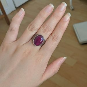 Sterling silver ruby stone ring